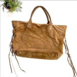Posse large tan suede shoulder bag